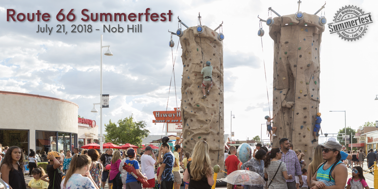 CABQ Parks and Rec will be providing a rock climbing wall at Route 66 Summerfest 2018 in Nob Hill